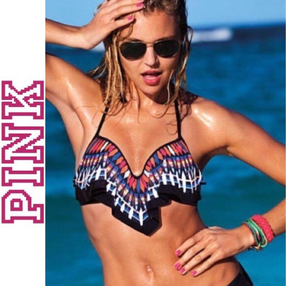 e79457a413639 PINK VS NWOT Aztec Push-up Flounce Bikini Top sz S